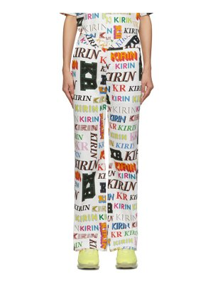 Kirin white and multicolor typo trousers