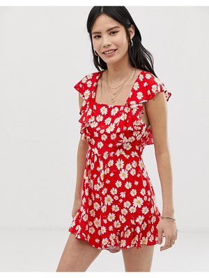 Kiss The Sky backless romper in daisy print-red