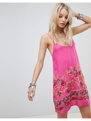 Kiss The Sky Cami Dress With Floral Embroidery