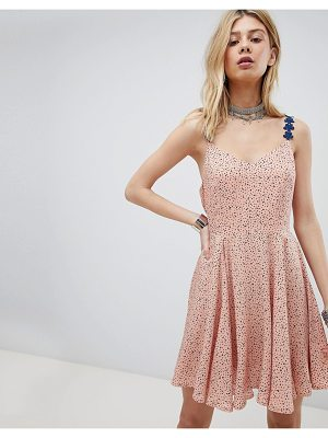 Kiss The Sky Cami Skater Dress With Lace Up Back In Star & Moon Ditsy Print