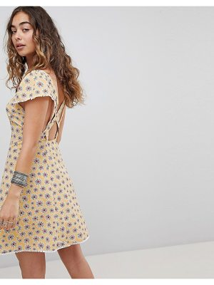 Kiss The Sky Cross Back Button Front Tea Dress In Ditsy Floral