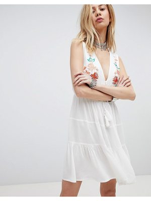 Kiss The Sky Embroidered Boho Dress With Plunge Front