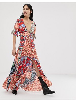 Kiss The Sky maxi dress with thigh splits in mixed print-multi