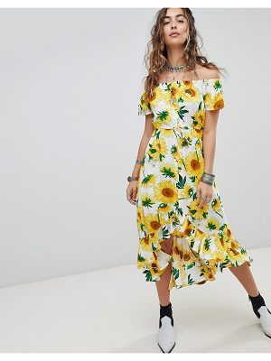 Kiss The Sky Off The Shoulder Button Front Midi Tea Dress In Sunflower Print