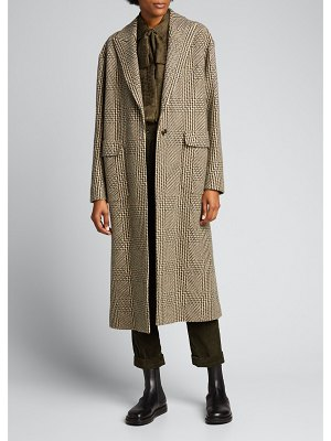 Kiton Checked Cashmere-Wool Long Coat