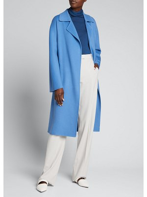 Kiton Long Cashmere Tie-Front Collared Coat