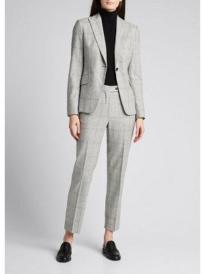 Kiton Plaid Wool-Cashmere Ankle Trousers