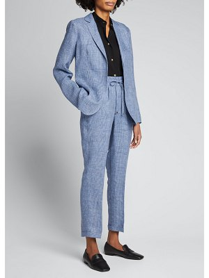 Kiton Prince of Wales Check Linen Trousers