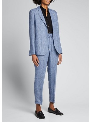 Kiton Prince of Wales Check Open-Front Linen Jacket