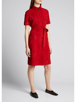 Kiton Suede Button-Down Belted Dress
