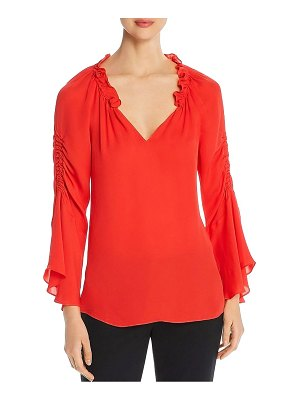 Kobi Halperin Carolina Ruched Silk Bell-Sleeve Blouse