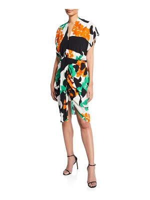 Kobi Halperin Freya Abstract Short-Sleeve High-Low Dress