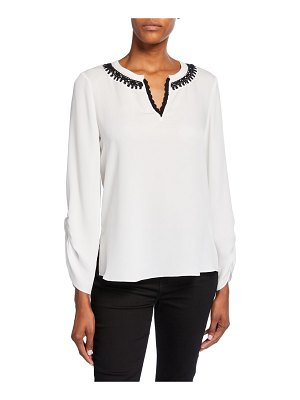 Kobi Halperin Geri Long-Sleeve V-Neck Silk Blouse