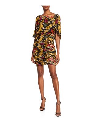 Kobi Halperin Leandra Floral High-Neck Shirred Silk Dress
