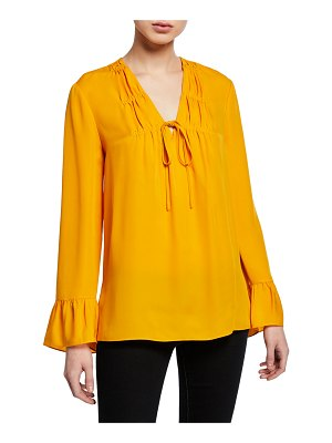 Kobi Halperin Mia V-Neck Long-Sleeve Silk Blouse