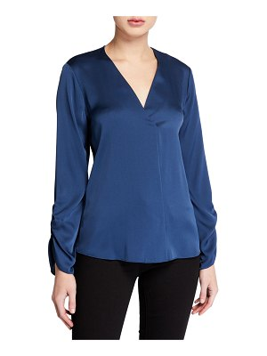 Kobi Halperin Mina V-Neck Long-Sleeve Silk Blouse
