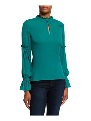 Kobi Halperin Sonya Long-Sleeve Ruffle-Trim Silk Blouse