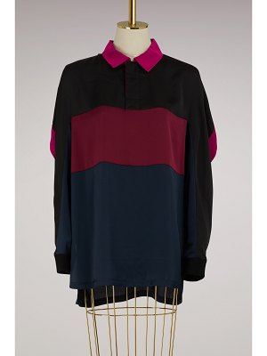 KOCHÉ Oversize polo shirt with long sleeves