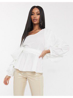 Koco & K bardot gathered wrap blouse with exaggerated sleeve in white
