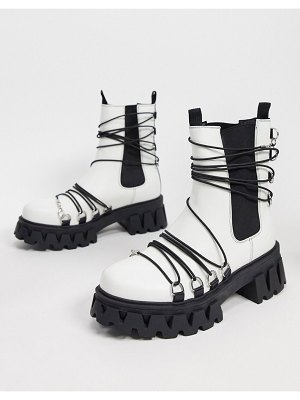 Koi Footwear allegiance vegan chunky boots with black laces in white