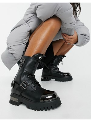 Koi Footwear desolation vegan chunky ankle boots with metal plating in black