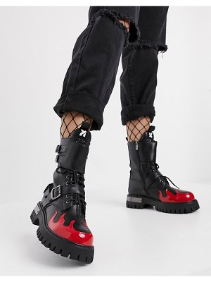 Koi Footwear fornax vegan chunky ankle boots with metal plating in red-black