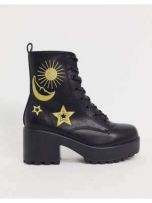 Koi Footwear vegan celestial chunky ankle boots in black and gold