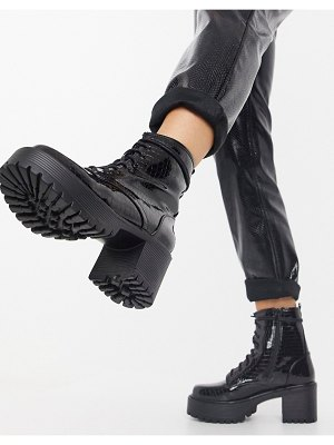Koi Footwear vegan lace up chunky boots in black croc