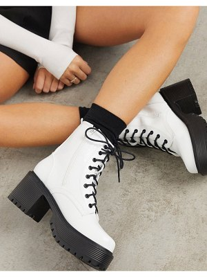 Koi Footwear vegan lace up chunky boots in white croc