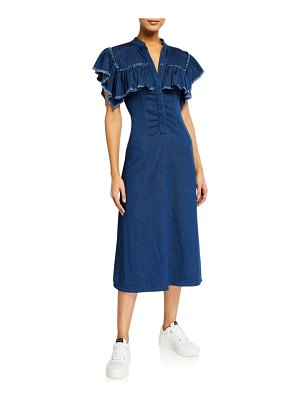 Ksenia Schnaider Yoked Ruffle Denim Midi Dress