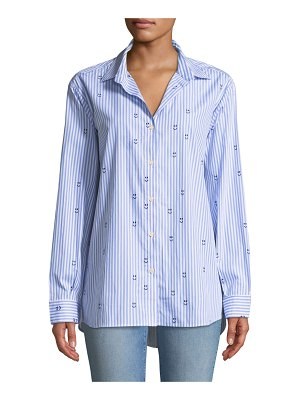 Kule The Hutton Embroidered Striped Button-Down Top