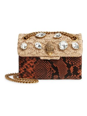 Kurt Geiger London mini kensington raffia & snake embossed leather crossbody bag