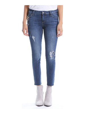 KUT from the Kloth catherine embellished ankle straight leg jeans