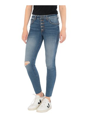 KUT from the Kloth donna fab ab exposed button ripped ankle skinny jeans