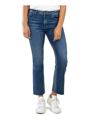 KUT from the Kloth kelsey high waist contrast panel raw hem ankle flare jeans