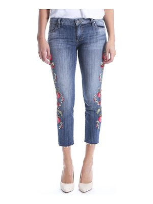 KUT from the Kloth reese embroidered straight leg raw hem jeans