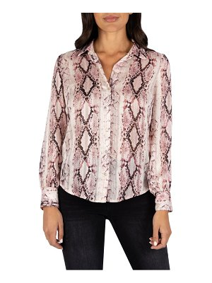 KUT from the Kloth sam snakeskin print button front top