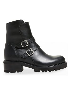 La Canadienne Carly Buckle Leather Short Moto Booties