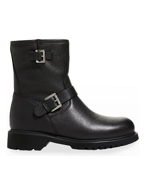 La Canadienne Hermione Leather Shearling Moto Booties