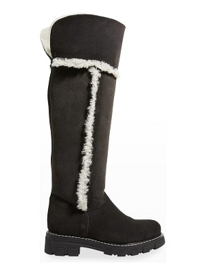 La Canadienne Tamyl Suede Shearling Knee Boots
