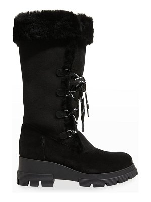 La Canadienne Zanabel Suede Shearling Lace-Up Boots