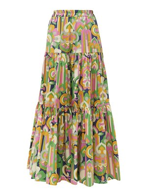 LA DOUBLEJ abstract print tiered cotton maxi skirt