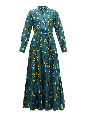 LA DOUBLEJ bellini floral print silk twill tiered shirt dress