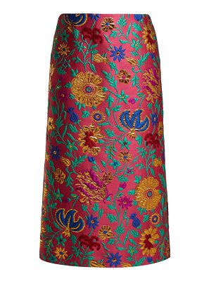 LA DOUBLEJ La Doublej - Dragon Flower Floral Brocade Pencil Skirt