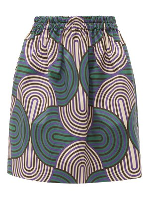 LA DOUBLEJ pouf abstract print cotton blend skirt