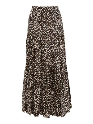 LA DOUBLEJ tiered leopard print cotton maxi skirt