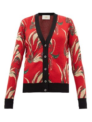 LA DOUBLEJ windy flower jacquard wool blend cardigan