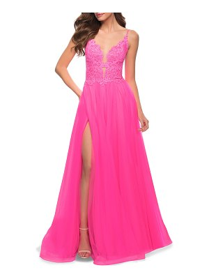 La Femme Lace Applique Sleeveless Tulle A-Line Gown