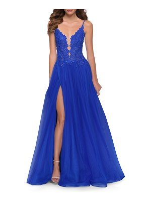 La Femme Lace-Bodice Sleeveless Tulle A-Line Gown