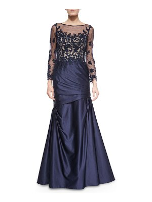La Femme Long-Sleeve Ruched Lace & Satin Gown
